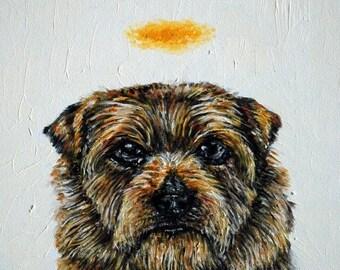 25% off norwich terrier angel halo dog signed art print animals impressionism gift new dog prints 13x19