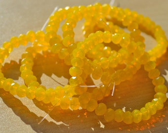 Bright Yellow Faceted Rondelle 5x3mm Czech Glass 30