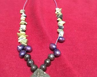 Serpentine Jade Gemstone Necklace/Purple Pearls/Black Pearls