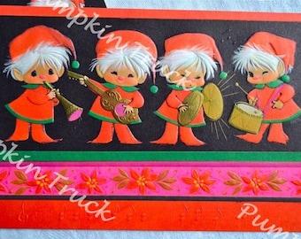 Vintage Christmas Card - Mod Pink Elf Band - Unused Hallmark