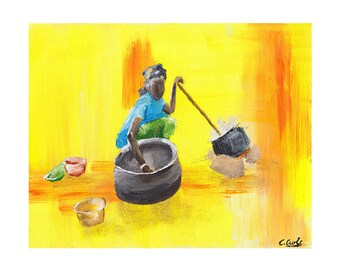 African Woman, The Provider Art Print, African Print, African Painting, Fine Art Print, Art and Collectibles, UNFRAMED