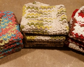 Set of 4 homemade washcloths/dishcloths