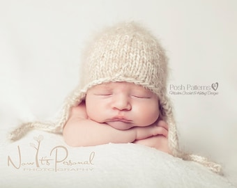 Knitting PATTERN - Knit Hat Pattern - Baby Knitting Patterns - Baby Earflap Hat - Knit Hat Pattern - 3 Sizes - Photo Prop Pattern - PDF 144