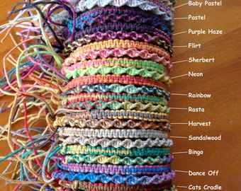 Variegated Hemp Handmade Friendship Bracelet/Anklet/Wristband - Square or Twist Knot Style