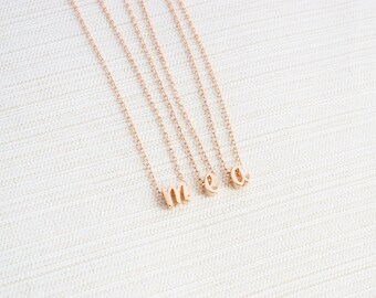 Rose Gold Letter Necklace, Rose Gold Initial Necklace, Personalised Jewellery, Rose Gold Plated Necklace, Gift Idea