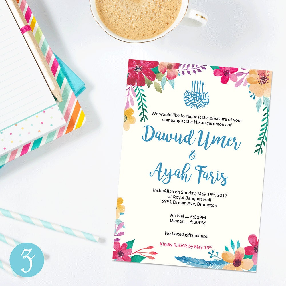 Islamic wedding invite downloadable invite nikkah walima zoom kristyandbryce Images