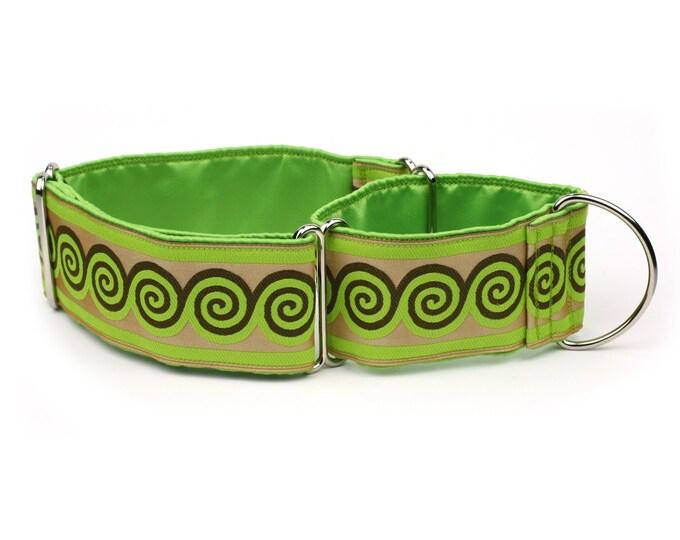 "Greyhound Dog Collar - Green and Brown Swirls - 2"" Martingale Dog Collar - Jacquard Ribbon - Satin Lined"