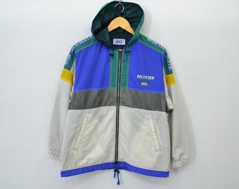 Asics Windbreaker Vintage 90's Recorder By Asics color block Sweater Asics ''Over The Atheletic'' Zipper Jacket Size 150