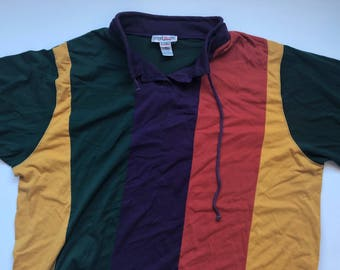 Rainbow Striped Colorblock Vintage Pullover
