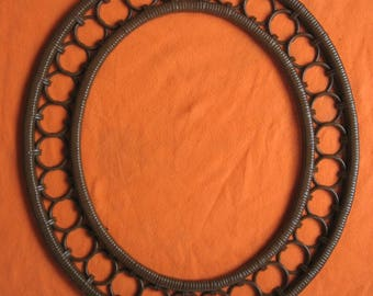 Oval Picture Frame Wicker Look Brown