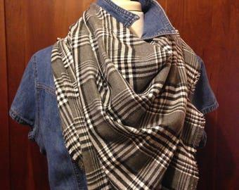 Grey/Black/White Tartan style Blanket Scarf