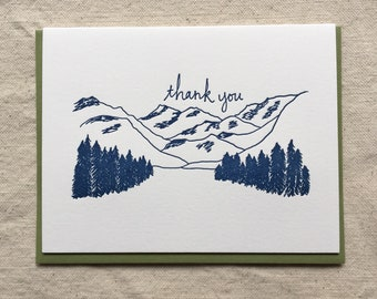 Mountains Thank You Letterpress Notecards