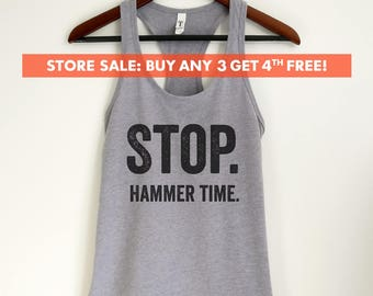 Stop. Hammer Time Tank Top, Funny Ladies Workout Tank Top, Running Tank Top, 80s tank top