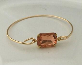 Blush Gemstone Bangle Bracelet,Stacking Bracelets,Gift Jewelry ,Wedding Bracelet ,Rhinestone Bracelet, Thin Bangle, Stackable Bracelet