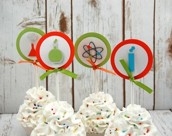 Science Theme Party Cupcake Toppers - Scientist Party Cupcake Toppers - Chemistry Birthday (set of 12) Completed or DIY Kit
