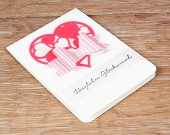 Card Heart pink with bow