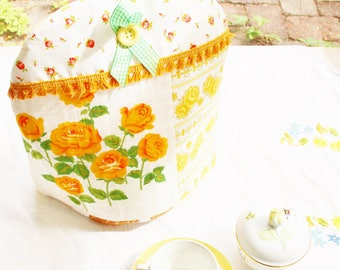Tea pot cozy coffee pot warmer shabby chic patchwork cottage country home rosy floral yellow orange green vintage housewarming hostess gift
