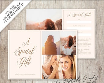 Photography Gift Certificate Template - Photo Gift Card - Design #15 - INSTANT DOWNLOAD - Layered .PSD File