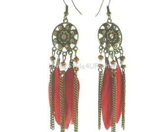 Feather Earrings, Big Feather Earrings, Feathers Long Chain Tassel Earrings, Red Feather Earrings, Boho Earrings, Bohemian Tassel Earrings