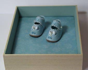 "Box pergamano ""Little boy"" in paper lace / / birth gift / / christening gift / / boy nursery decor / / baby"