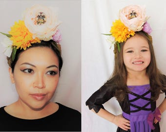 Yellow, Pink, Lavender, and White Floral Sugar Skull Headband