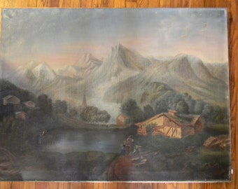 "Antique 34"" x 45"" Oil Painting on Canvas Landscape"