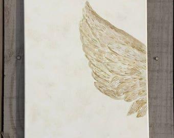 "Original hand painted Canvas Art, ""Angel's feather"", Canvas Wall decoration, Hand painted canvas"