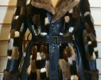60s Vintage Mink Leather Coat Patchwork Checkered Color Block Mosaic Coat M/L/XL