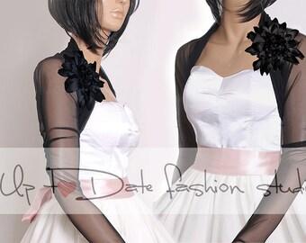 Black Bridal delicate stretchy tulle   jacket  /,long sleeves wedding bolero/cover up/gothick wedding