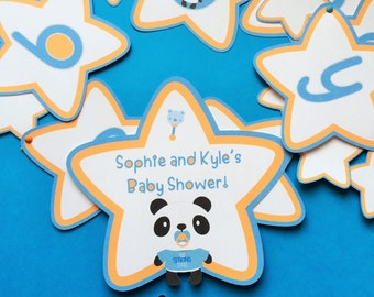 Panda bear banner plus personalized sign and thank you tags. Panda party, panda baby boy shower, Panda themed baby shower