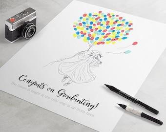 Graduation Guest Book - fingerprint guest book for graduation gift similar to fingerprint tree.  graduation gift, graduation party