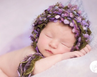 Newborn Girl Bonnet Knit BaBY PHoTO PRoP Lilac Long tie GaRDeN PiXiE HAT Chunky Mauve Baby Cap CoMiNG HoME Baby Shower Gift CHooSE CoLOR