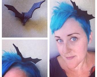 Black Felt Bat Fascinator Clip - Perfect for Halloween Costume