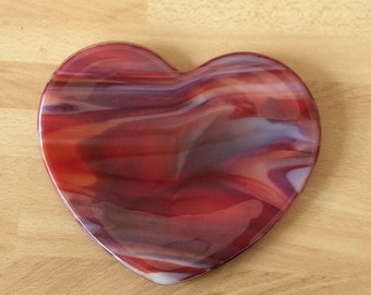 1 Fused Glass Heart Shape Dish/Plate - Cranberry Red Mix