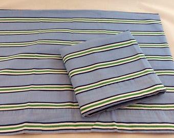 Vintage Striped Pillowcases in Blue and Green