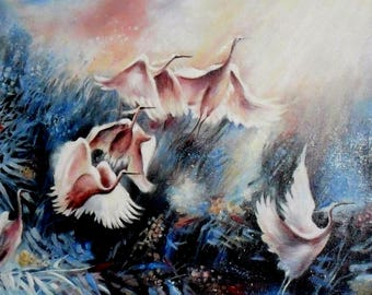Oil Painting on Canvas Abstract Birds Egret Heron Original Handmade Wall Decoration