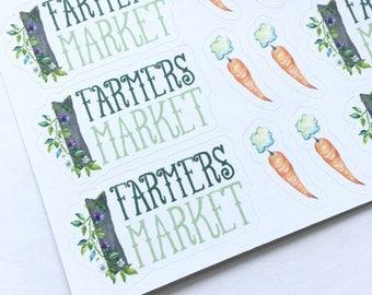 Farmer's Market Sampler Stickers, Planner Stickers, Farmer's Market, Veggies