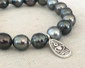 Tahitian Pearl & Fine Silver Buddha Serenity bracelet