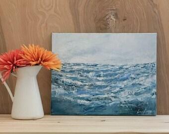 "Original Abstract Acrylic 11""x14"" Seascape Painting ""Waikiki"""