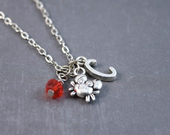 Silver Crab Necklace - Crab Jewelry - Beach Necklace - Personalized Necklace - Crab Pendant - Beach Jewelry - Sealife Necklace - Animal