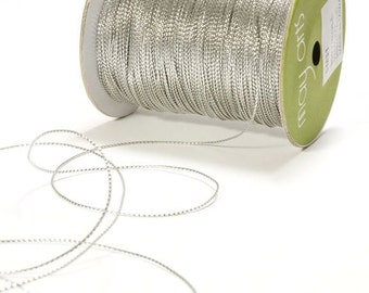15 yards Metallic Silver String Ribbon