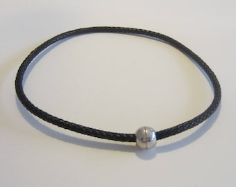 Black braided leather cord necklace, magnetic clasp ball silver
