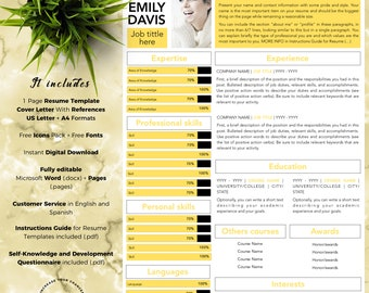 Simple and Professional Resume Template CV for Word and Pages (1 Page + Cover Letter with References + Fonts + Icons) Instant Download
