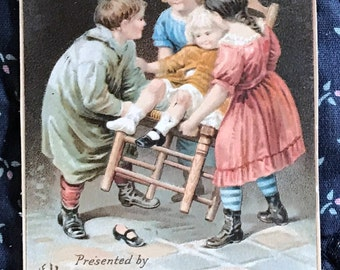 Victorian Trade Card 1800s, Four Victorian Children Playing with a Chair, The Household Sewing Machine Co, Victorian Collectible
