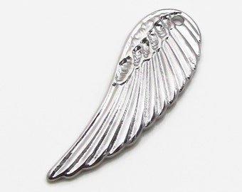Stainless Steel Angel Wing Charm, Wing Charm, Silver Wing Pendant, 31.5x11x2mm, Set of 3, Jewelry Finding, Stainless Steel Wing Charm  (137)