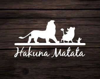 Hakuna Matata Decal. Disney's The Lion King Hakuna Matata (No Worries) Decal,  Lion King Decal, Disney Car Decal, Lion King Sticker