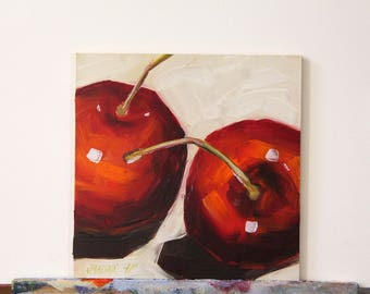 Cherries original oil painting, still life painting, boba painting
