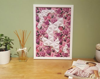 Handmade Origami wall art Flower love