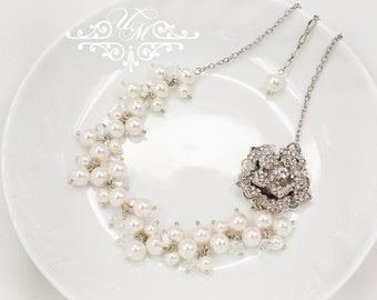 Wedding Jewelry Cluster Pearl Necklace Messy style Swarovski Pearl Swarovski Crystal Necklace Bridal Bridesmaids Necklace - GRACE ROSE