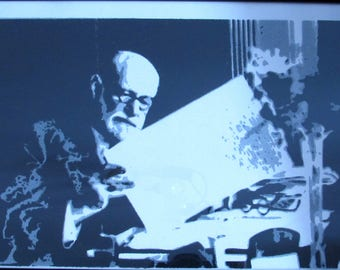 Sigmund Freud. Stencil on cardboard